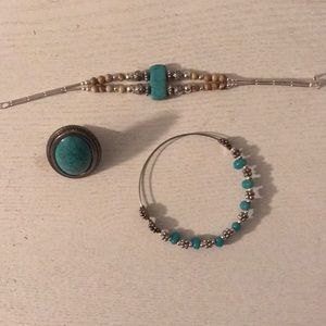 Teal accented jewelry
